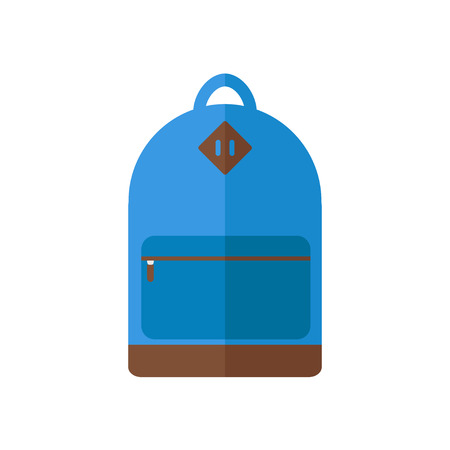 school sports: Backpack isolated icon on white background. Backpack for school, sports, camping, traveling. Flat style vector illustration. Illustration