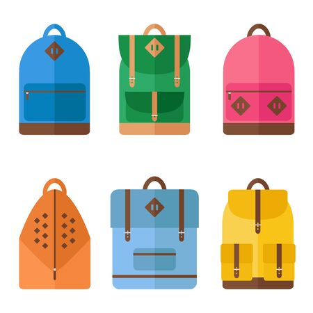 school sport: Backpack icons on white background. Backpack for school, sport, travel. Flat style vector illustration.