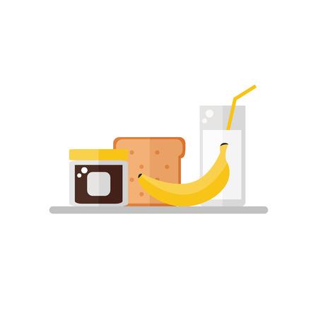 Breakfast food on white background. Tasty breakfast. Banana, chocolate cream, toast bread, milk. Flat style vector illustration. Illustration