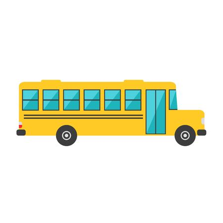 back view student: School bus isolated icon on white background. Big school bus. Flat style vector illustration.