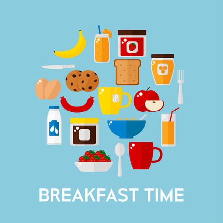 corn flakes: Breakfast food on background. Breakfast food set. Coffee, toast, corn flakes, juice, apple, banana, jam, honey, tea, milk, cookies, eggs, sausage. Flat style vector illustration. Illustration