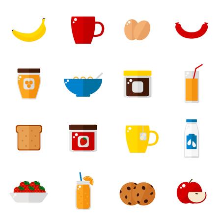 Breakfast icons isolated on white background. Breakfast food set. Coffee, toast, corn flakes, juice, apple, banana, jam, honey, tea, milk, cookies, eggs, sausage. Flat style vector illustration.