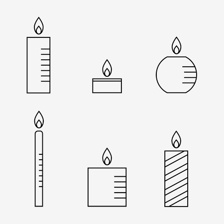 Candle icons set. Candle isolated icons on white background. Flat line style vector illustration.
