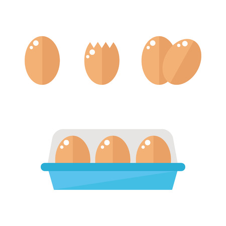Eggs isolated icons on white background. Breakfast food. Flat style vector illustration.