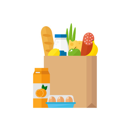 Grocery bag icon isolated on white background. Paper bag with fresh food. Supermarket concept. Flat style vector illustration.