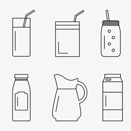 juice bottle: Juice isolated icons on white background. Juice bottle, glass, pack set. Flat line style vector illustration.