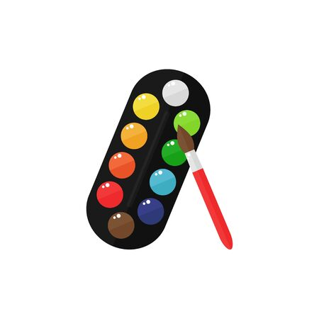 paint palette: Paints isolated icon on white background. Paint palette with brush. Flat style vector illustration.
