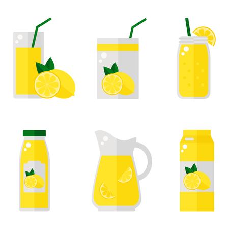Zitronensaft isolierte Symbole auf weißem Hintergrund. Zitronensaftflasche, Glas, Satzsatz. Flache Stil Vektor-Illustration.