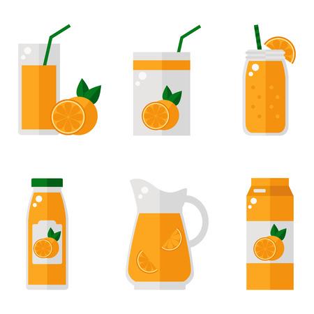 オレンジ ジュースは、白い背景上にアイコンを分離しました。オレンジ ジュースのボトル、ガラス、パックのセット。フラット スタイルのベクト