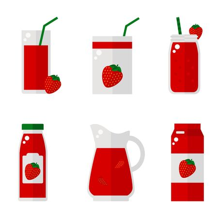 juice bottle: Strawberry juice isolated icons on white background. Strawberry juice bottle, glass, pack set. Flat style vector illustration.