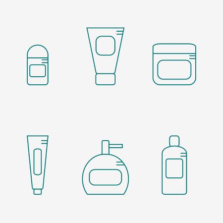 Bathroom supplies icon isolated on white background. Deodorant, cream, tooth paste, soap bottle, shampoo. Hygiene tools. Flat line style vector illustration. Ilustração Vetorial