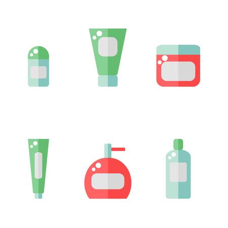 utiles de aseo personal: los elementos de baño icono aislado sobre fondo blanco. Desodorante, crema, pasta de dientes, botella de jabón, champú. herramientas higiene. ilustración vectorial de estilo plano.