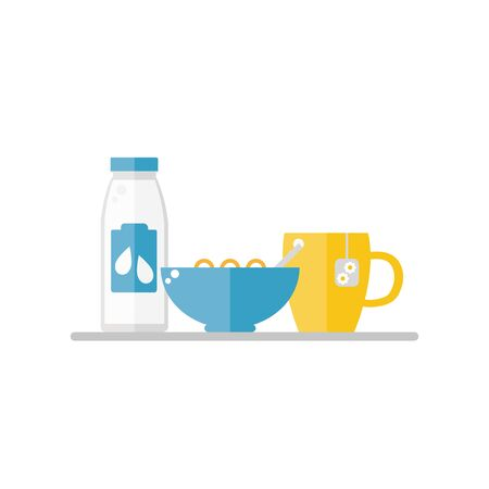 corn flakes: Breakfast food on white background. Corn flakes, milk, tea cup. Healthy breakfast. Flat style vector illustration.