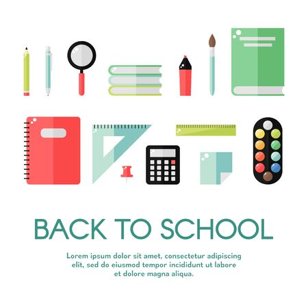 pen and marker: School supplies isolated icons on white background. School books, pencil, ruler, notebook, paint, pen, marker, calculator, magnifier. Education tools. Flat style vector illustration.