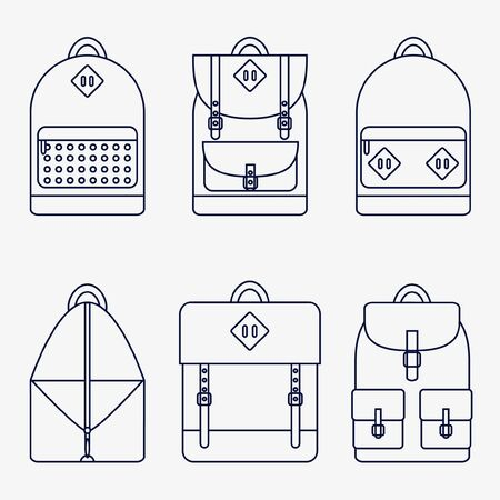 school sport: Backpack isolated icons set on background. Backpack for school, sport, travel. Flat line style vector illustration.