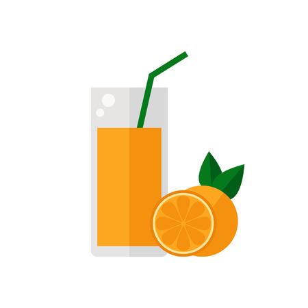 tubule: Juice icon. Orange juice isolated icon on white background. Glass of juice with tubule. Orange smoothies. Orange fruit. Fresh juice. Flat style vector illustration.