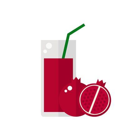 tubule: Juice icon. Pomegranate juice isolated icon on white background. Glass of juice with tubule. Pomegranate smoothies. Pomegranate fruit. Fresh juice. Flat style vector illustration. Illustration