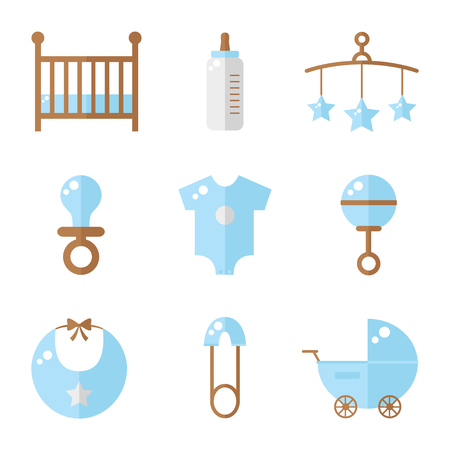 Baby icons isolated on white background. Cot, baby bottle, toys, clothes, rattle, baby pin, baby carriage, bib, soother. Baby boy icons set. Flat style vector illustration.