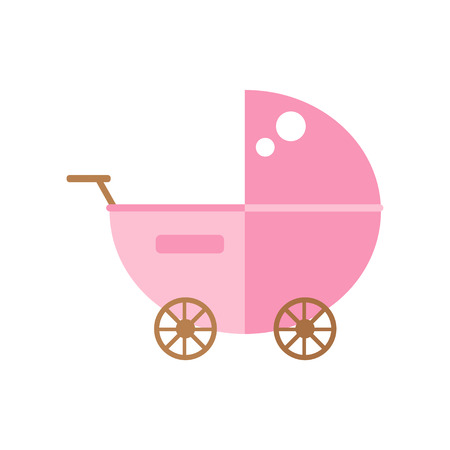 Baby carriage isolated icon on white background. Pram isolated icon. Modern baby carriage. Baby buggy. Flat style vector illustration.