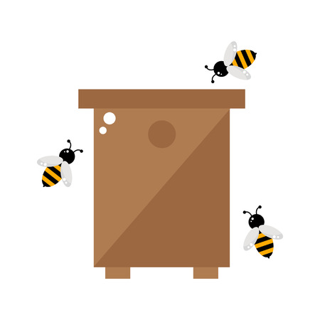 bee house: Bee hive isolated icon on white background. Beehive with honey bees. Wooden bee hive. Organic beekeeping. Apiary farm. Bee house. Flat style vector illustration.