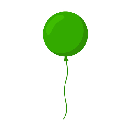 inflatable ball: Balloon isolated icon. Colorful balloon. Green balloon. Big round balloon with long ribbon. Balloon icon on white background. Balloon for holidays and birthday party. Flat style vector illustration. Illustration
