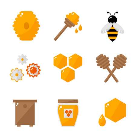 beeswax: Beekeeping isolated icons on white background. Apiary icons set. Honey bee, honey jar, honey spoon. Honey icons collection. Organic bee farm elements. Flat style vector illustration. Illustration