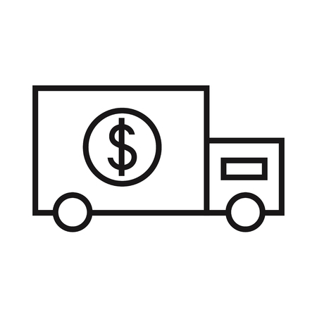 armored safes: Money transportation car isolated icon on white background. Flat line style vector illustration.