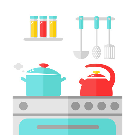 Kitchen interior design. Kettle and pan on the stove. Isolated kitchen appliance on white background. Spices and kitchenware. Cooking dinner. Flat style vector illustration. Illustration