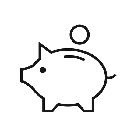Money box isolated icon on white background. Piggy box. Finance icon. Bank icon. Flat line style vector illustration.