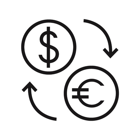 conversion: Money exchange isolated icon on white background. Dollar and euro conversion. Finance icon. Bank icon. Flat line style vector illustration.