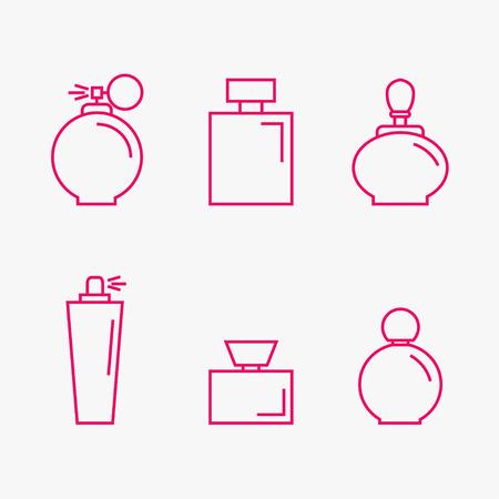 perfumery: Perfume isolated icons on background. Perfume bottles set. Fragrance. Perfumery products. Flat line style vector illustration.
