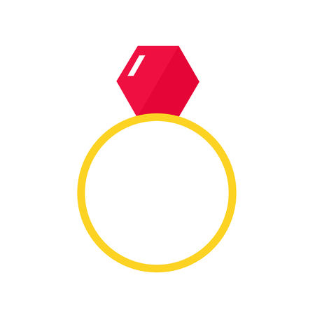 golden ring: Ring isolated icon on white background. Diamond ring. Wedding ring. Engagement ring. Golden ring. Jewelry. Flat style vector illustration. Illustration