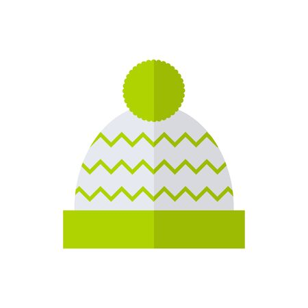 pom: Winter hat isolated icon on white background. Flat vector illustration design.