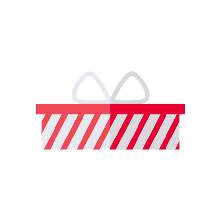 Present box isolated icon on white background. Present for christmas, birthday, holiday. Flat style vector illustration. Ilustracja