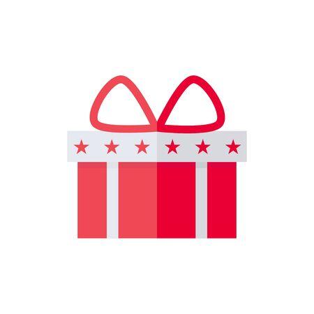 白い背景の上ボックス分離アイコンを提示します。クリスマス、誕生日、休日のために存在します。フラット スタイルのベクトル図です。
