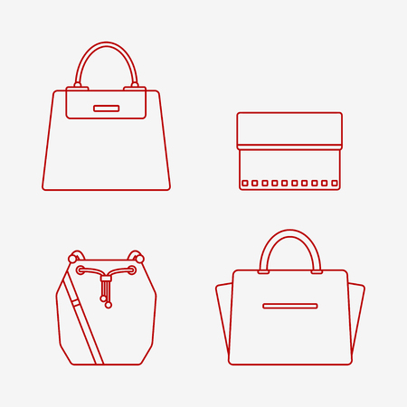 バッグのアイコンが白い背景で隔離。女性の袋セット。フラット線ベクトル イラスト デザイン。