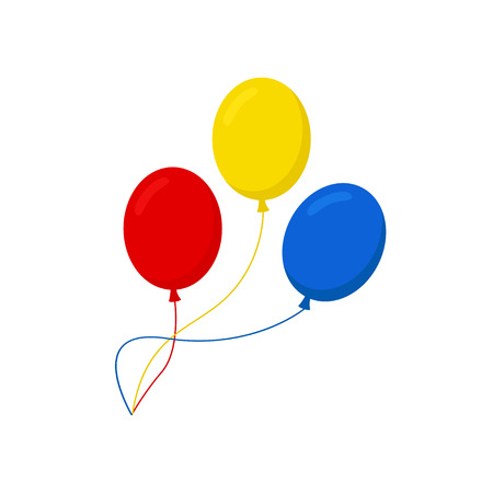 Balloons isolated icon on white background. Three colorful balloons. Flat style vector illustration.