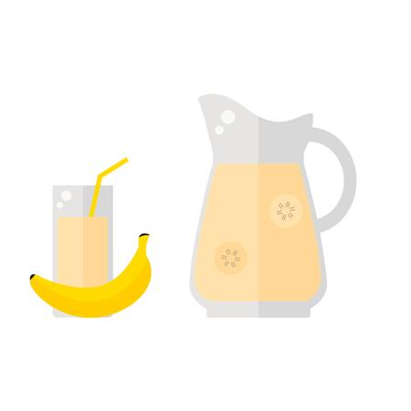 バナナ ジュースのアイコンが白い背景に分離されました。わら、投手とバナナのフルーツとガラス。爽やかなドリンク。フラット ベクトル イラス