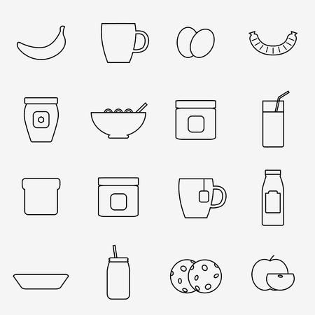 Breakfast icons isolated on white background. Breakfast food set. Coffee, toast, corn flakes, juice, apple, banana, jam, honey, tea, milk, cookies, eggs, sausage. Flat line style vector illustration. Ilustracja