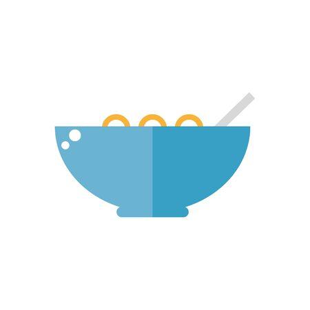 コーンフレークのアイコンが白い背景で隔離。朝食用食品。フラット スタイルのベクトル図です。