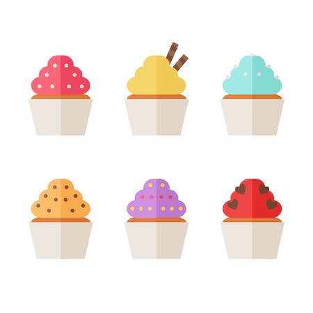 カップケーキ アイコンが白い背景に分離されました。マフィン アイコンのコレクション。甘くおいしいです。フラット ベクトル イラスト デザイン