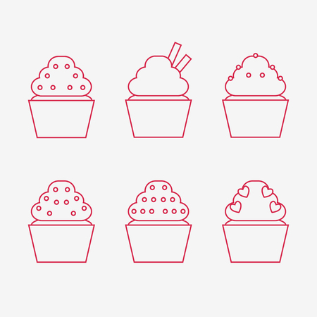 Cupcake icons isolated on white background. Muffin icons collection. Sweet tasty food.