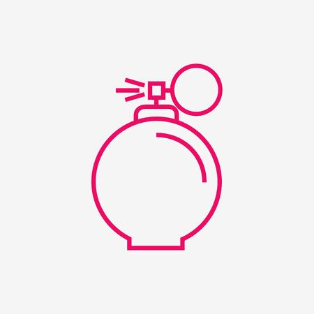 Perfume isolated icon on background. Perfume bottle. Fragrance. Perfumery product. Flat line style vector illustration. Ilustracja