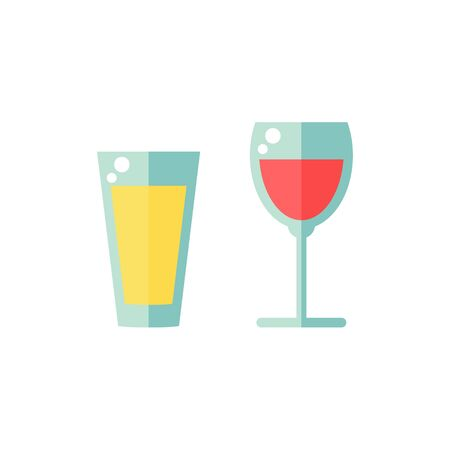 Glass isolated icon on white background. Full glass of juice and wine. Flat vector illustration design. Ilustracja