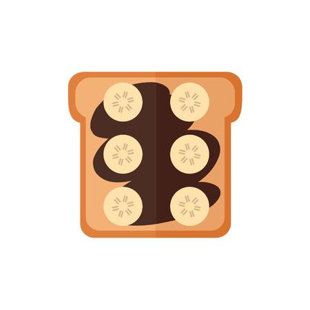 白い背景の上のトースト パン分離アイコン。サンドイッチとチョコレート クリーム、バナナ。朝食用食品。フラット スタイルのベクトル図です。