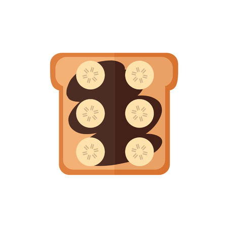 Toast bread isolated icon on white background. Sandwich with chocolate cream, banana. Breakfast food. Flat style vector illustration.