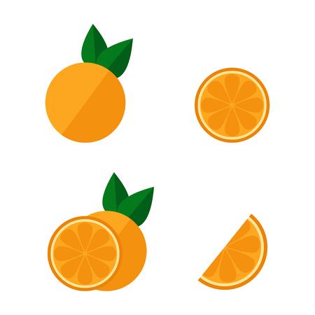オレンジ色のアイコンは、白い背景で隔離。全体とカット オレンジ セット。熱帯のフルーツ。フラット ベクトル イラスト デザイン。