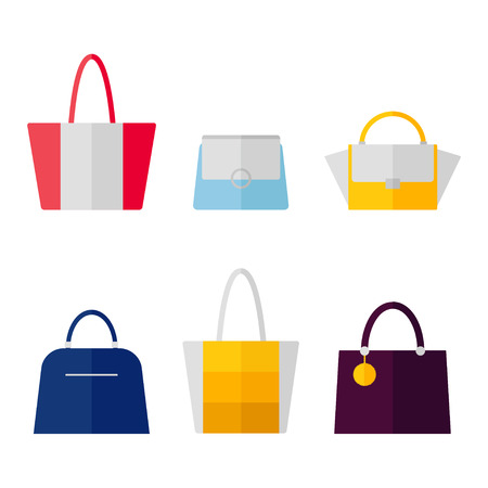 Bag icon isolated on white background. Women bags set. Flat vector illustration design. Ilustracja