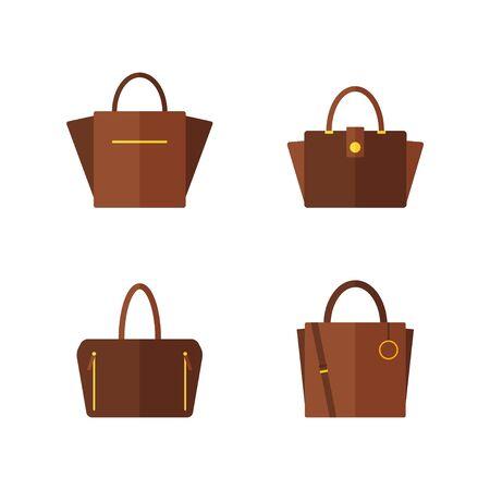 バッグのアイコンが白い背景で隔離。女性のバッグ コレクションです。フラット ベクトル イラスト デザイン。  イラスト・ベクター素材