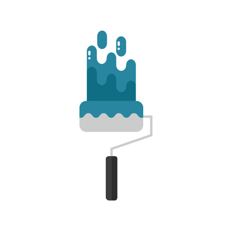 Repair brush icon isolated on white background. House paint equipment. Flat vector illustration design.